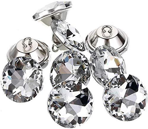Coolty 60 Piezas Botones de Cristal de Estrás Transparentes para Tapicería con Botones de Metal para Coser Sofás, Camas, Manualidades, Decoración, 25mm
