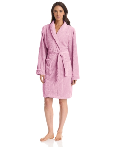 Seven Apparel Hotel Spa Collection Popcorn Jacquard Bath Robe, Pink