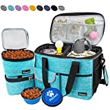 PetAmi Dog Travel Bag   Airline Approved Tote Organizer with Multi-Function Pockets, Food Container Bag and Collapsible Bowl   Perfect Weekend Pet Travel Set for Dog, Cat (Sea Blue, Small)