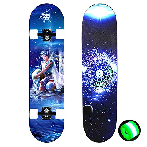 FGKING 28-Inch Full Body Freestyle Longboard Skater Cruiser, Professional Complete Skateboard Maple Long Board Suitable for Teen Adults Beginners Children,4