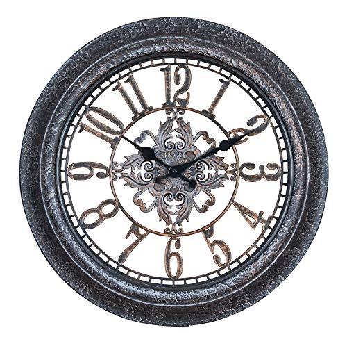 levandeo Wanduhr 40x40cm Ornamente Schwarz Kupfer Shabby Chic Vintage Uhr Deko Industrial Wanddeko