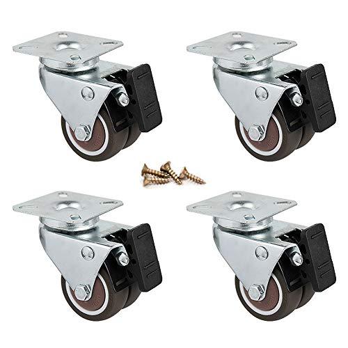 Casters 2-Zoll-Laufrollen/Flache Universalräder, Doppelbremsräder, Gummirollen, Staubdicht Und Stoßdämpfend, Starke Tragfähigkeit, Vier In Einer Packung.