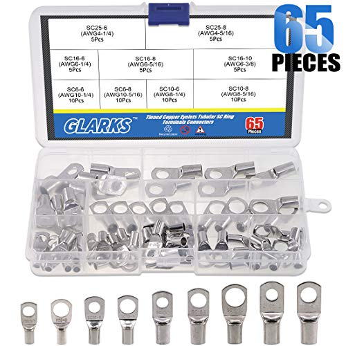 Glarks 65Pcs Assorted Heavy Duty Wire Lugs Battery Cable Tinned Copper Eyelets Tubular SC Ring Terminals Connectors with Spy Hole Assortment Kit