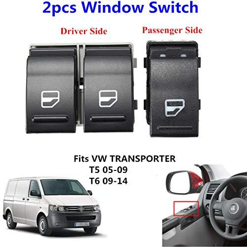 2 elevalunas eléctrico del conductor del lado del pasajero para Transporter T5 T6, 7E0959855A 7E0959855