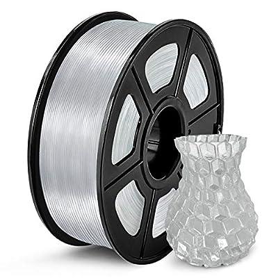 SUNLU Clear PLA Filament 1.75mm, 3D Printer Filament Transparent PLA Dimensional Accuracy /- 0.02 mm, 1KG