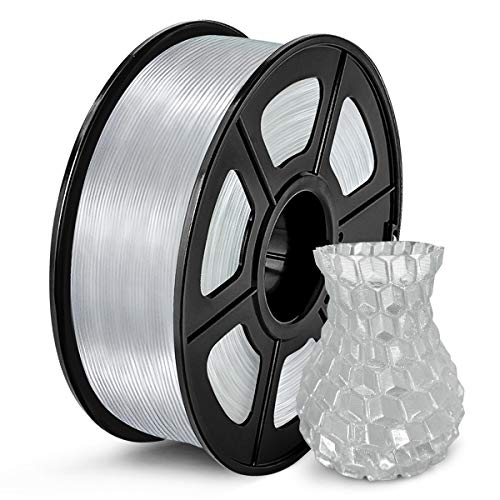 SUNLU Clear PLA Filament 1.75mm, 3D Printer Filament Transparent PLA Dimensional Accuracy /- 0.02 mm, 1KG
