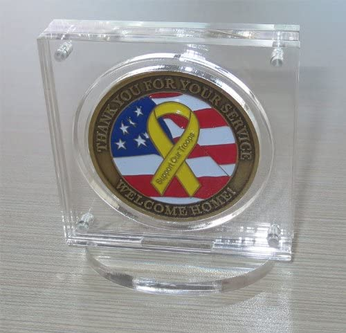 """~5 Premium 1-3//4/"""" Display Stand Easel Challenge Coin Air-Tite Capsules"""