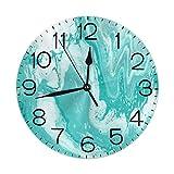 Kncsru Textura de mármol Turquesa Reloj de Pared Redondo Decorativo Moderno Sin tictac Reloj de Escritorio silencioso con Pilas Arte