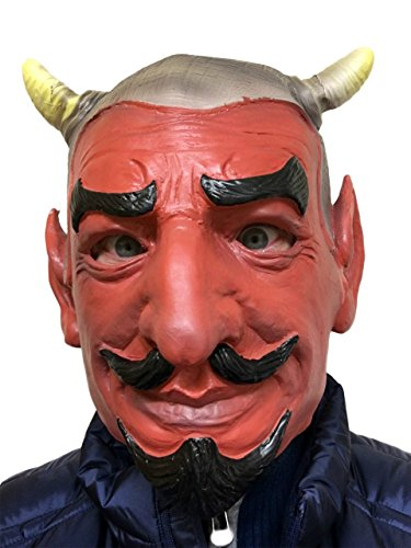 Rubber Johnnies TM Horreur Diable Rouge Masque Latex Satan Lucifer Démon Face Fantaisie Halloween Masques