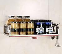 IVHJLP 高品質のステンレス鋼の多機能キッチン調味電子レンジシェルフラック、キッチン収納棚壁掛け用フロアスタンド (Size : Length 28cm)
