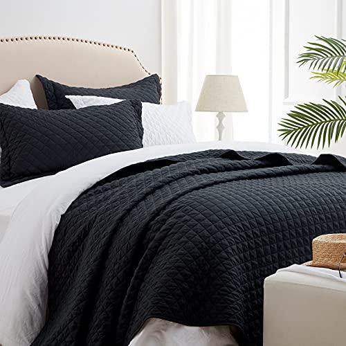 "SunStyle Quilt Set Black Queen Size(90""x96""), Reversible Lightweight Diamond Quilted Design Bedspread, Soft Coverlet for All Season, 3pcs Queen Quilt Bedding Set (1 Quilt, 2 Pillow Shams)"