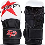 Starpro Star Guantes MMA de Cuero PU para Sparring y Agarre en el Entrenamiento de Combate Muay Thai Artes Marciales MMA Kickboxing Fitness - Hombres y Mujeres - Blanco y Negro