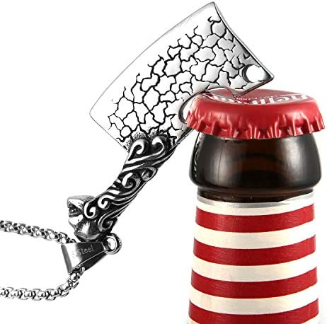 HZMAN Gothic Skull Hell Cleaver Beer Corkscrew Stainless Steel Pendant Necklace 22 2 Inch Chain product image