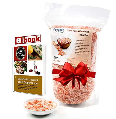 Pure Himalayan Salt, Coarse, by Dynamic Chef, Pink Rock Salt, Essential Trace Minerals, Plus RECIPE EBOOK