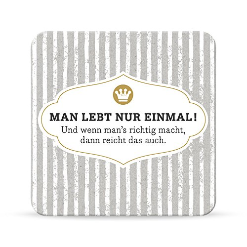 Sheepworld, Happy Life - 44588 - Untersetzer Nr. A14, Man lebt nur einmal!, Kork, 9,5cm x 9,5cm