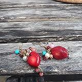 Boucles d'oreille cascade de perles corail