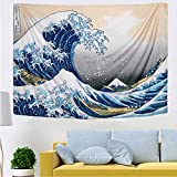 IcosaMro Wave Tapestry Wall Hanging | Hokusai Wall Art with Hemmed Edges, Ocean Sea Wall Blanket Home Decor for Bedroom College Dorm, The Great Wave Off Kanagawa, 60x82.7 Inches