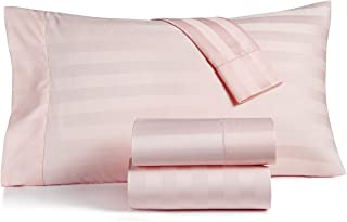 Charter Club Damask Stripe Queen Cotton Candy Pink Sheet Set 550 Thread Count Supima Cotton