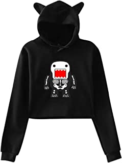 Funny Cool Domo-kun Skeleton Women Girls Long Sleeve Cat Ear Cropped Hoody Sweater Shirts