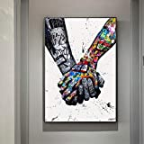 Perfect Wall Decoration for Living Room, Bedroom, Kitchen, Office, Hotel, Restaurant, Bathroom, Bar, Resort,And Children'S Room Etc...Adding Elegant Artistic Atmosphere Canvas Wall Art Inspired by Life, Warm And Lovely Couples Holding Hands Oil Paint...