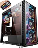 MUSETEX 6 ARGB Fans Pre-Installed USB 3.0 ATX Mid-Tower Case with Voice Remote Control & Tempered Glass Panels, Decent Cable Management/Airflow Gaming PC Case Computer Chassis(G05-MS6)