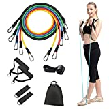 Iconites Resistance Bands Set 11pcs Exercises Elastic Latex Rubber Expander 100 Lbs Home Gym Yoga Tubes Pull Rope Body Building Fitness Crossfit Training Workout Equipment