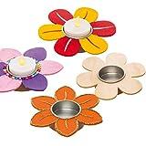 """Baker Ross Holz-Teelichthalter """"Blume"""" (4 Stück) – Frühlings-Bastelidee für Kinder zum Verzieren und als Dekoidee"""