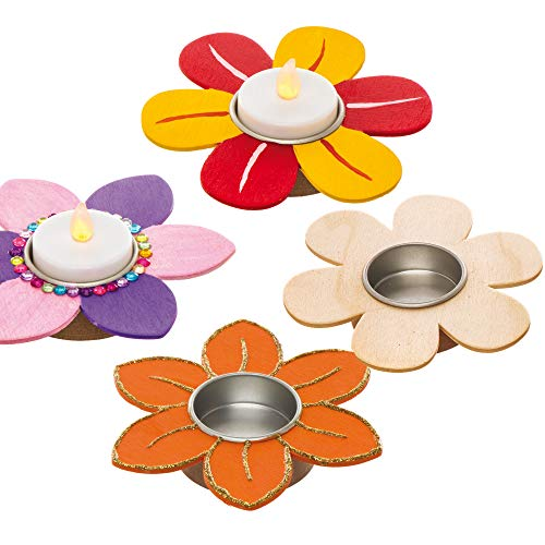 Baker Ross AW226 Flower Wooden Tealight Holders Box of 4, Ready to Paint Wooden Crafts for Kids to Decorate and Display