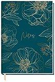 Notizbuch A5 kariert [Goldblüte] von Trendstuff by Häfft | 126 Seiten | Ideal als Tagebuch, Bullet Journal, Ideenbuch, Schreibheft | klimaneutral & nachhaltig