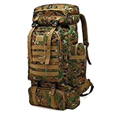【Hiking Backpack Structure】: The 70L large capacity camping backpack, main storage bag with elastic drawstrings that can expand the pack, it's roomy enough for you to put in sleeping bag, mat, hammock or shoes and luggage , one laptop compartment, on...