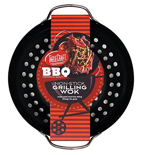 TableCraft BBQ Metal Handle 13-Inch Non Stick Coating Round Grilling Wok, Small, Black