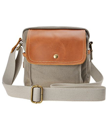 Canvas Camera Bag Leather Trim Pouch