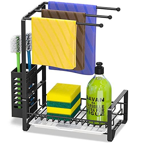 Bextsrack - Soporte de esponja para fregadero de cocina, organizador de fregadero, soporte de jabón con escurridor para cocina, color negro