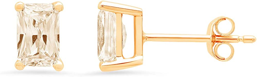 Clara Pucci 1.0 ct Brilliant Emerald Cut Solitaire VVS1 Flawless Natural Brown Morganite Gemstone Pair of Stud Earrings Solid 18K Yellow Gold Butterfly Push Back