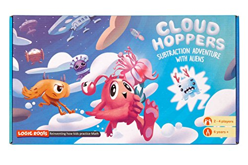 CLOUD HOPPER Addition Subtraction STEM game - Alien chase adventure - Fun learning toy for ages 6 and up - Aligned to Singapore math - With 10 faced math dice