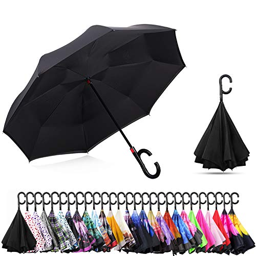 MASTERCANOPY Inverted Umbrella,Double Layer Reverse Windproof Teflon Repellent Umbrella for Car and Outdoor Use, UPF 50+ Big Stick Umbrella with C-Shaped Handle and Carrying Bag, Black