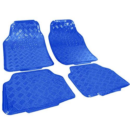 WOLTU 7109 Tappetini Auto Universali Tappeto Antiscivolo PVC Simil Alluminio Set 4 Pezzi Blu Lucido