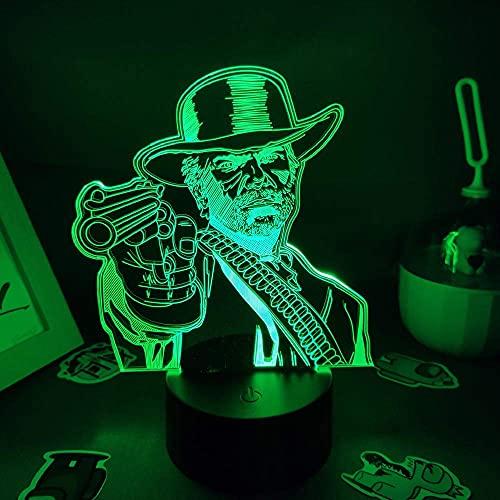 FZRZGDSH Lámpara de ilusión 3D Luz de Noche Figura de Juego roja Lámpara de Arthur Morgan LED RGB Mesa de Sala de Juegos para niños Decoración Colorida con Control Remoto