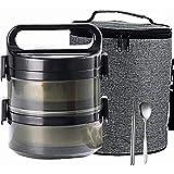Fiambrera Bento apilable, compartimento térmico de acero inoxidable con aislamiento de fiambrera con bolsa de almuerzo y utensilio portátil, contenedor a prueba de fugas para oficina,Negro,2 layer