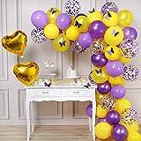 PartyWoo Globos Morados Amarillo, 82 Piezas Lilac Globos Globo Violeta Globos Amarillos Globos Confeti para Decoracion Fiesta Morado, Decoracion Fiesta Mariposas, Decoracion Cumpleaños Rapunzel
