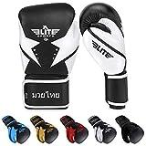 Elite Sports Muay Thai Gloves, Men's, Women's Best Kickboxing Pair of Breathable Gloves (White, 10 oz)