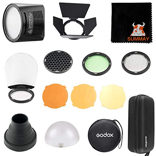 GODOX H200R Ring Flash Head + AK-R1 Accessories Kit for Godox AD200 Pocket Flash (Diffuser Ball,Color Filters,Honey Comb, Snoot, Barn Door and H200R Round Flash Head) (H200R+AK-R1)