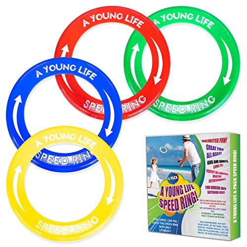 4 Pack Kid#039s Flying Rings and Adult Golf Discs  Fly Straight  Weighs 115 OZ Only 80% Lighter  Floats On Water  Reduce Screen Time Up Family Fun Play Outdoors and Get Sunshine Made in USA