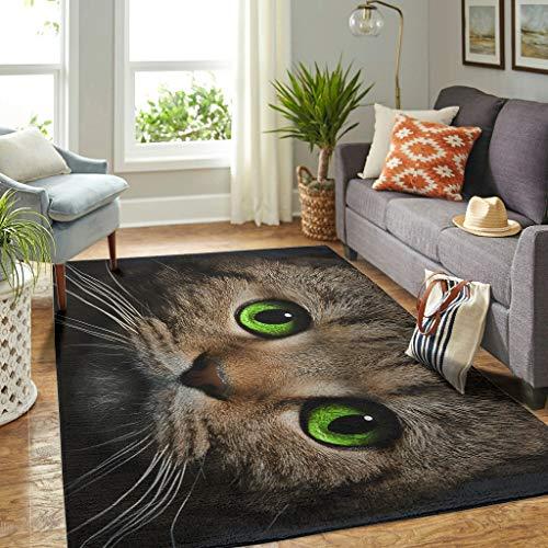Veryday Alfombra de lujo con diseño de gato y ojos verdes, para salón, como puerta de entrada, para dormitorio o habitación infantil, color blanco, 91 x 152 cm