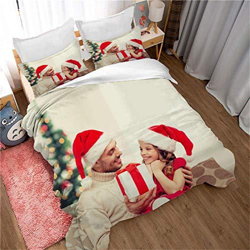 WEDSGTV Funda nórdica de algodón 100% poliéster Suave Personaje de niña de Navidad 102.3x90.5 Inch Juego de Cama con Estampado 3D Funda nórdica Funda de Almohada Twin Queen King Size
