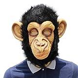 SCLMJ Masque Latex Halloween,Drôle Nouveauté Cheveux Noirs Réalistes Animaux Orangoutang pour Unisex-Adult,Masque De Carnaval...