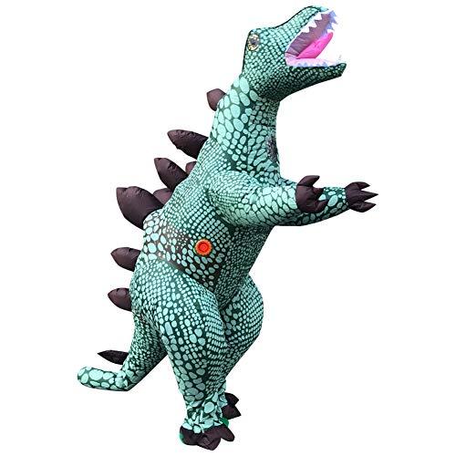 Deeabo Traje Inflable de Dinosaurio Divertido, Traje Inflable de Rendimiento de Dinosaurio de Dibujos Animados de Estegosaurio Irlandés, Traje Inflable Rendimiento Cosplay Ropa Inflable, 150-190 Cm