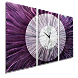 Statements2000 Contemporary Abstract Silver and Purple Metallic 3D Wall Clock - Modern Functional Hand-Crafted Home Decor Wall Art - Noble Spell by Jon Allen - 38-inch