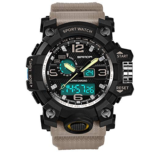 Men's Sport Watches Hessimy Mens Digital Wrist Watch LED Screen Large Face Electronics Military Watches Waterproof Alarm Back Light Outdoor Casual Luminous Simple Army Watch