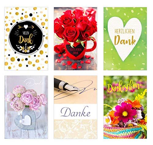 Set 6 exklusive Danke Karten mit Umschlag. Doppelkarten/Klappkarten mit Briefumschlag. Postkarten